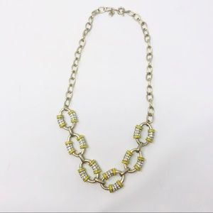 J Crew Chain Link Gold Yellow Statement Necklace